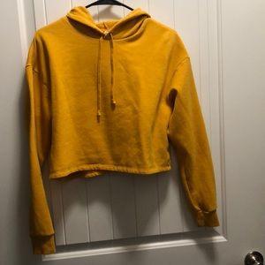 Yellow H&M Crop Top Hoodie